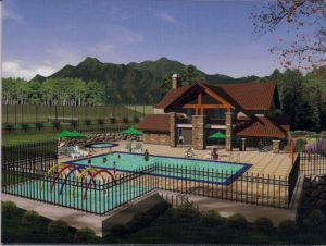 Click to enlarge. Conceptual rendering of pool and clubhouse. The final design may differ based on budget.